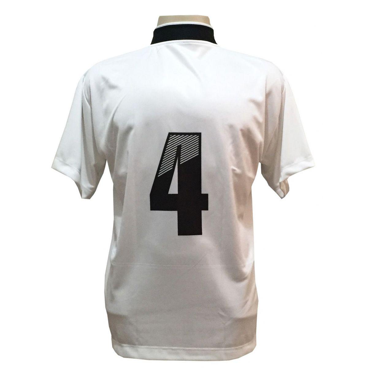 Uniforme Esportivo Completo modelo Suécia 14+1 (14 camisas Branco/Preto + 14 calções Madrid Branco + 14 pares de meiões Brancos + 1 conjunto de goleiro) + Brindes