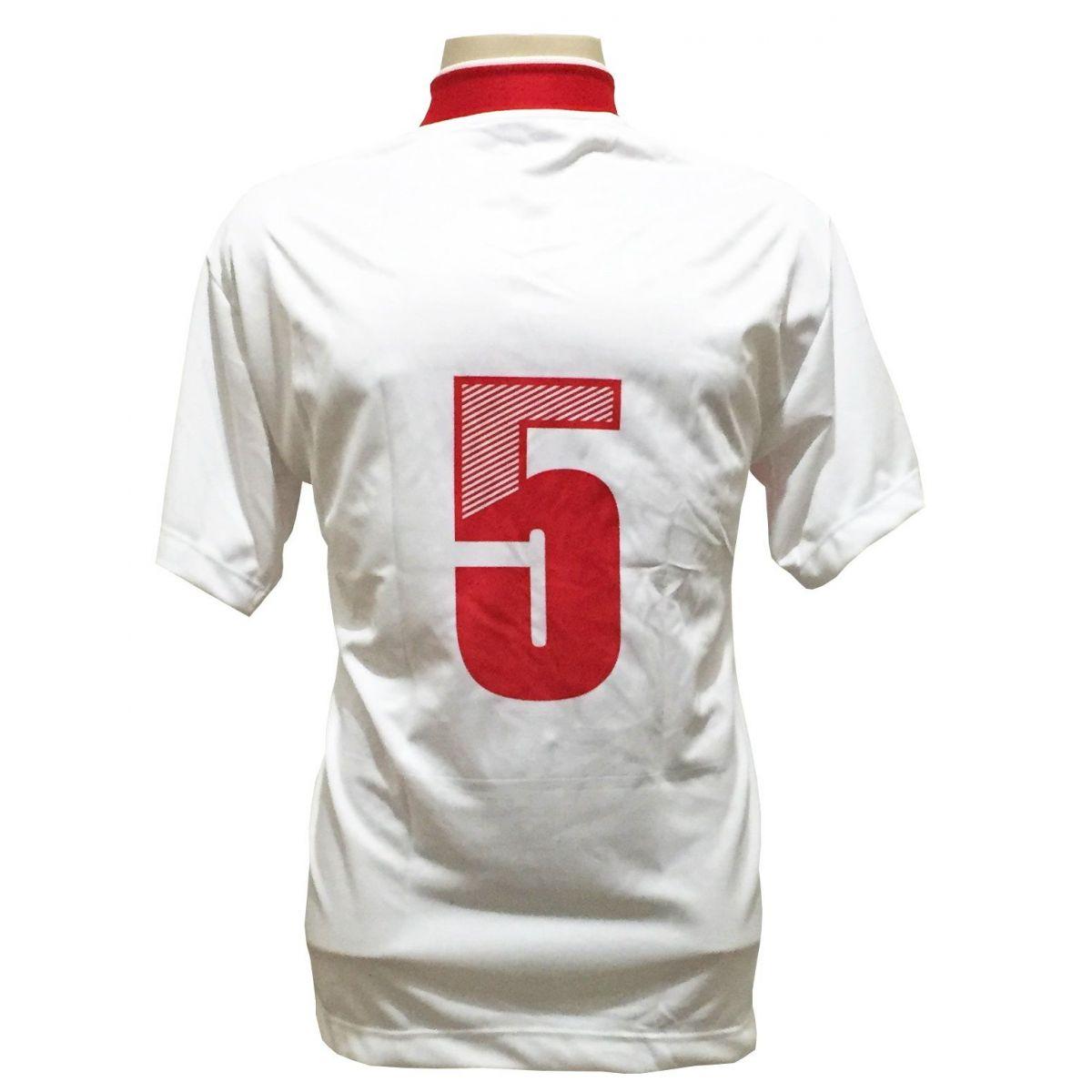 Uniforme Esportivo Completo modelo Suécia 14+1 (14 camisas Branco/Vermelho + 14 calções Madrid Branco + 14 pares de meiões Brancos + 1 conjunto de goleiro) + Brindes