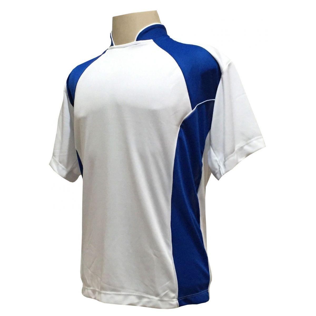 Uniforme Esportivo Completo modelo Suécia 14+1 (14 camisas Branco/Royal + 14 calções Madrid Royal + 14 pares de meiões Royal + 1 conjunto de goleiro) + Brindes