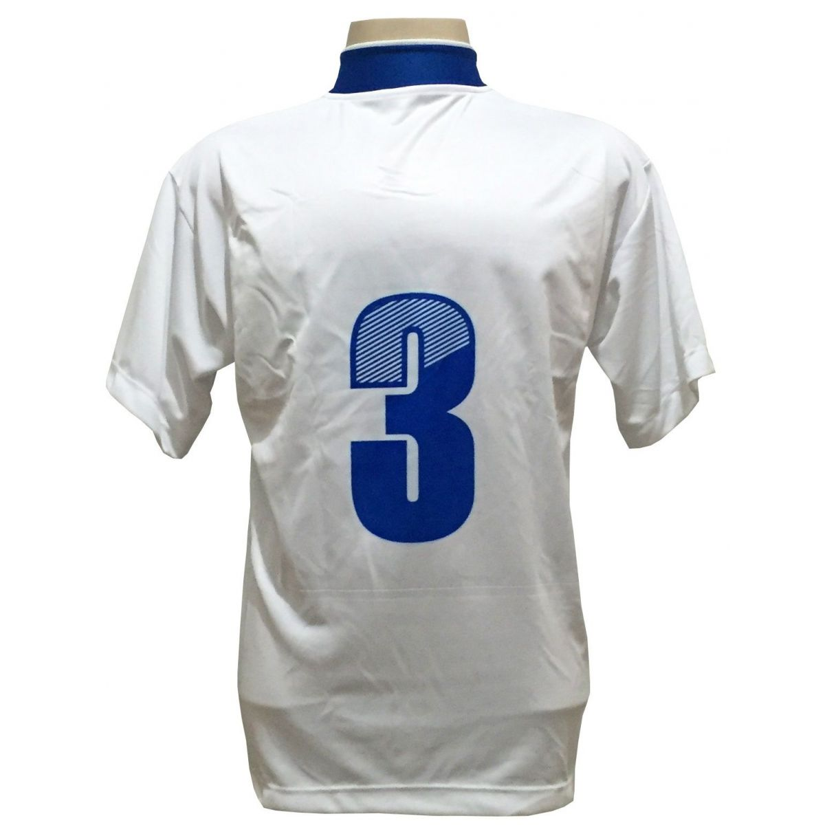 Uniforme Esportivo Completo modelo Suécia 14+1 (14 camisas Branco/Royal + 14 calções Madrid Branco+ 14 pares de meiões + 1 conjunto de goleiro) + Brindes
