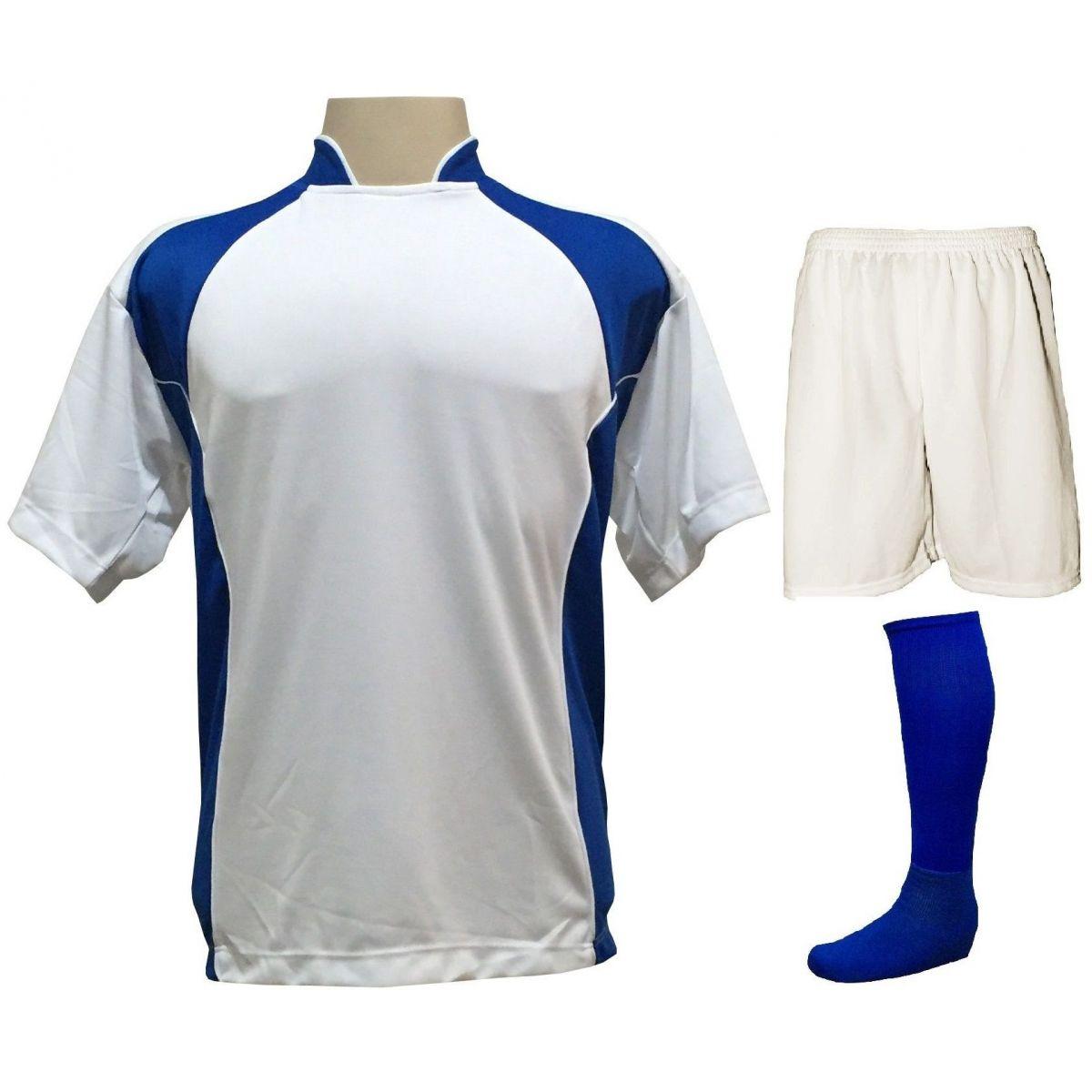 Uniforme Esportivo Completo modelo Suécia 14+1 (14 camisas Branco/Royal + 14 calções Madrid Branco + 14 pares de meiões Royal + 1 conjunto de goleiro) + Brindes