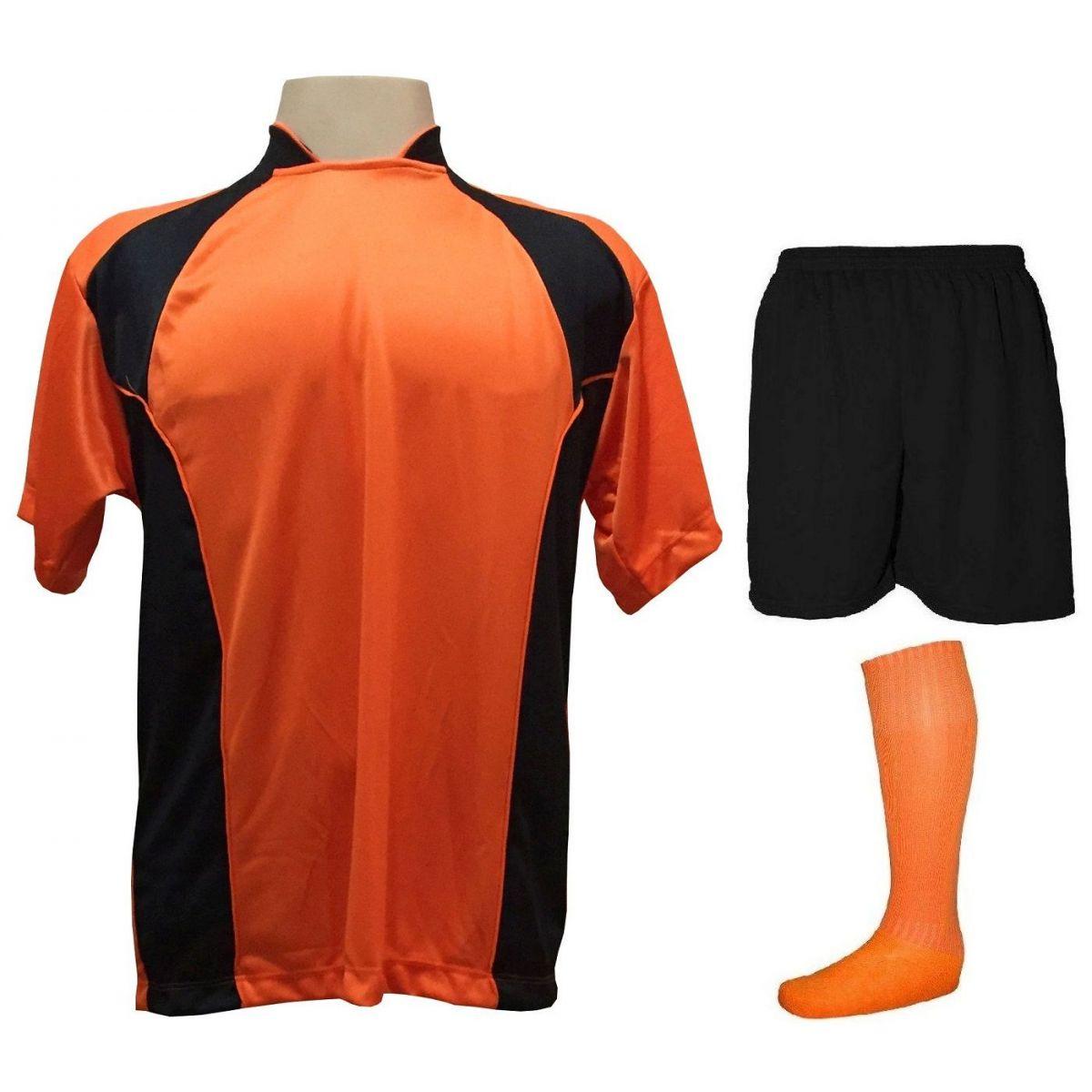 Uniforme Esportivo Completo modelo Suécia 14+1 (14 camisas Laranja/Preto + 14 calções Madrid Preto + 14 pares de meiões Laranja + 1 conjunto de goleiro) + Brindes