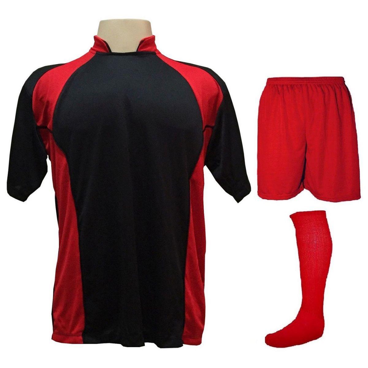 Uniforme Esportivo Completo modelo Suécia 14+1 (14 camisas Preto/Vermelho + 14 calções Madrid Vermelho + 14 pares de meiões Vermelhos + 1 conjunto de goleiro) + Brindes