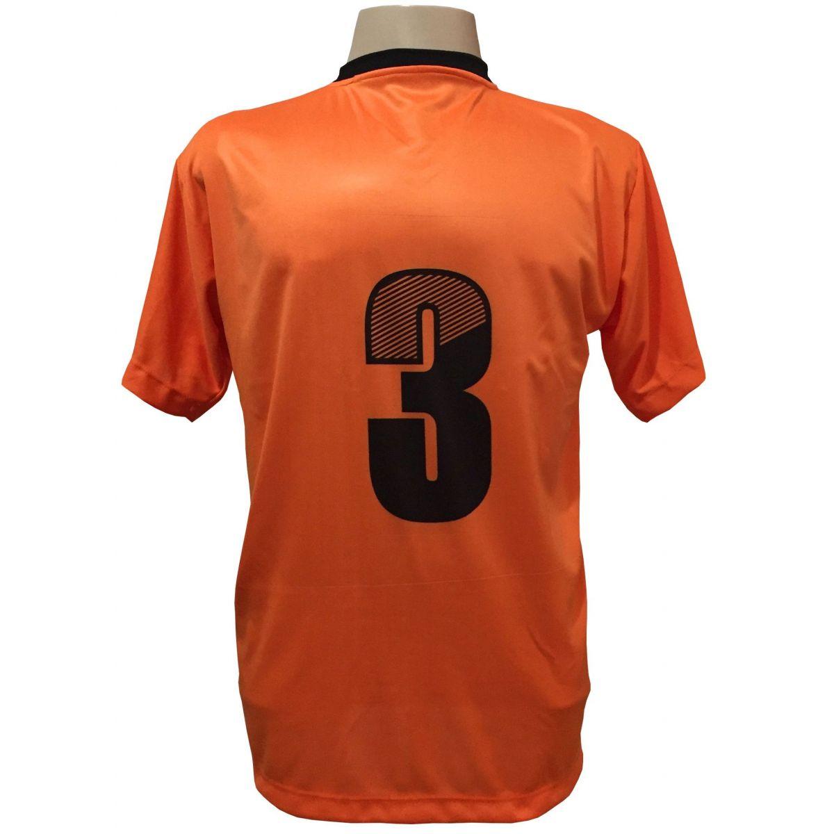 Uniforme Esportivo com 20 camisas modelo Roma Laranja/Preto + 20 calções modelo Madrid Preto + Brindes