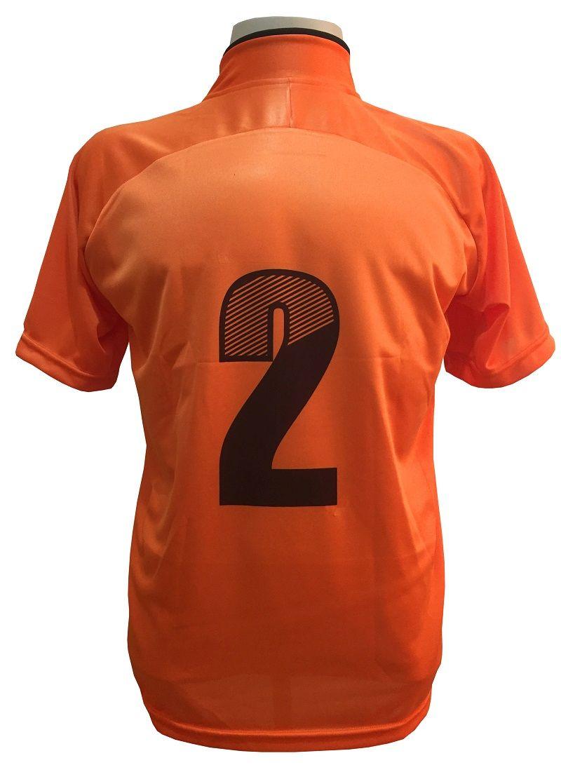 Jogo de Camisa com 12 unidades modelo City Laranja/Preto + 1 Goleiro + Brindes