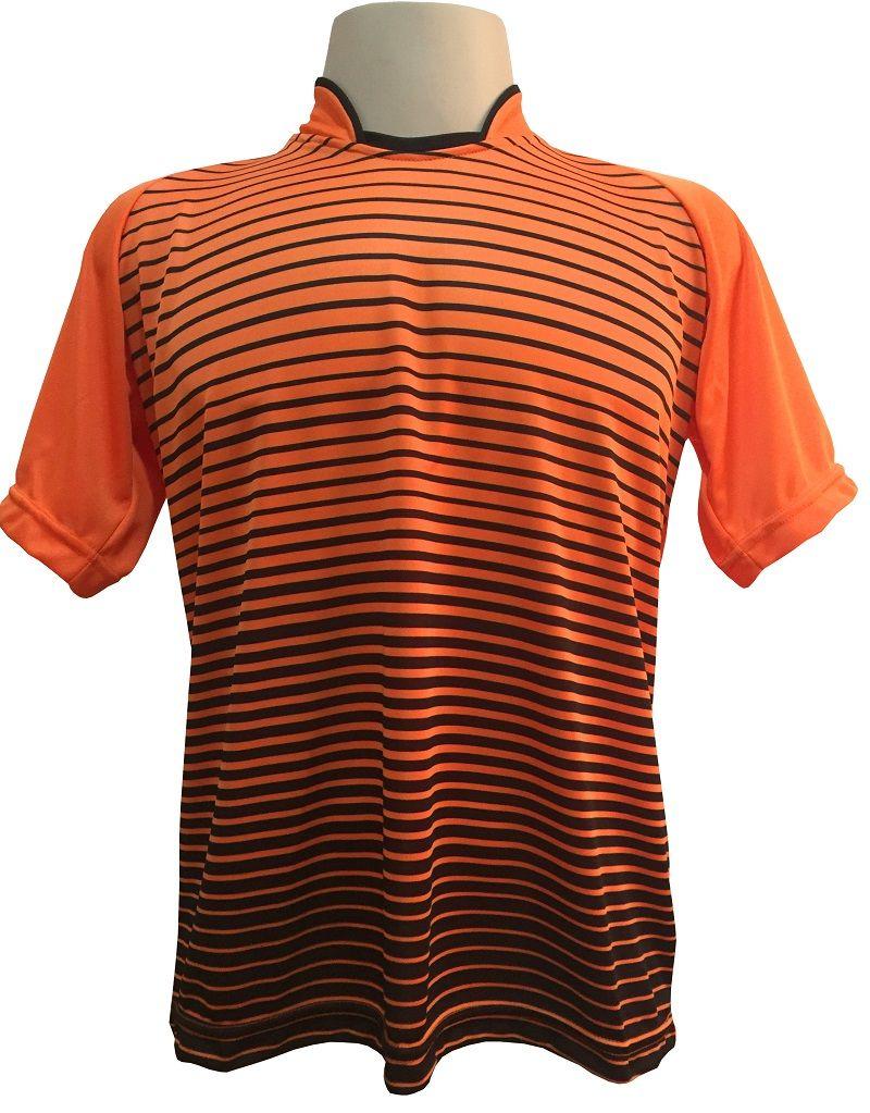 Jogo de Camisa com 18 unidades modelo City Laranja/Preto + Brindes