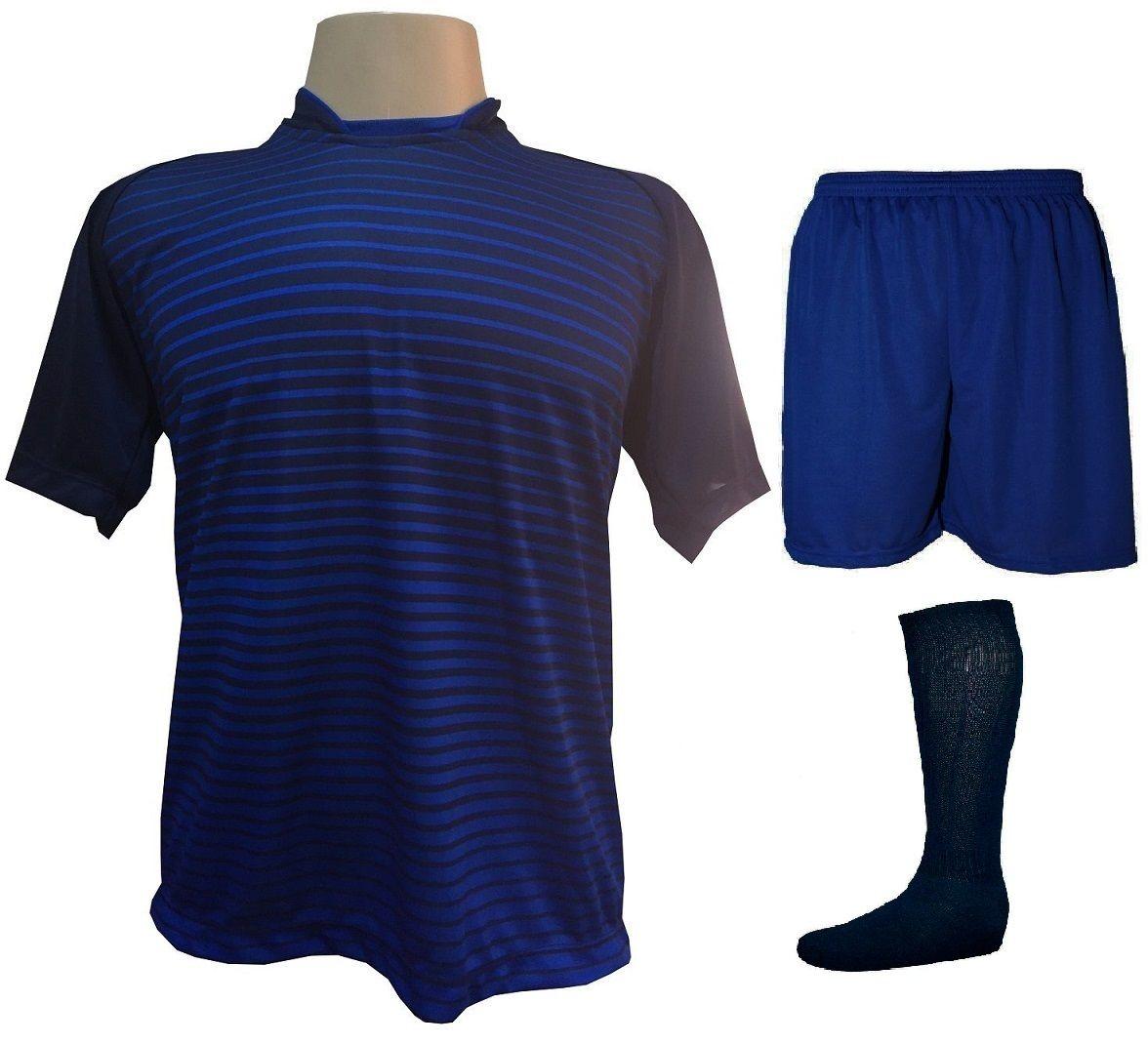 Fardamento Completo modelo City 18+1 (18 Camisas Marinho/Royal + 18 Calções Madrid Royal + 18 Pares de Meiões Marinho + 1 Conjunto de Goleiro) + Brindes