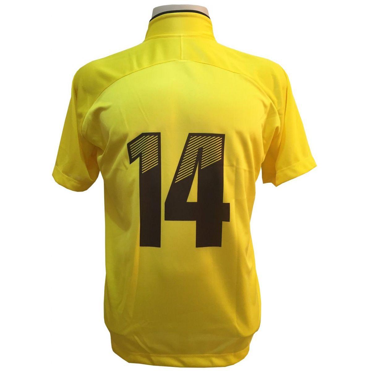 Fardamento Completo Modelo City 12+1 (12 Camisas Amarelo/Preto + 12 Calções Madrid Amarelo + 12 Pares de Meiões Pretos + 1 Conjunto de Goleiro) + Brindes