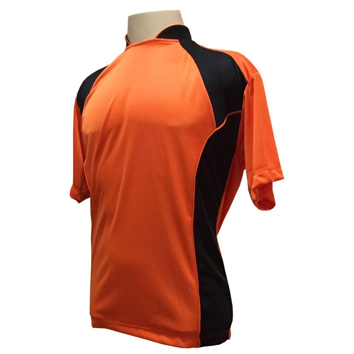 Uniforme Esportivo Completo modelo Suécia 14+1 (14 camisas Laranja/Preto + 14 calções Madrid Preto + 14 pares de meiões + 1 conjunto de goleiro) + Brindes