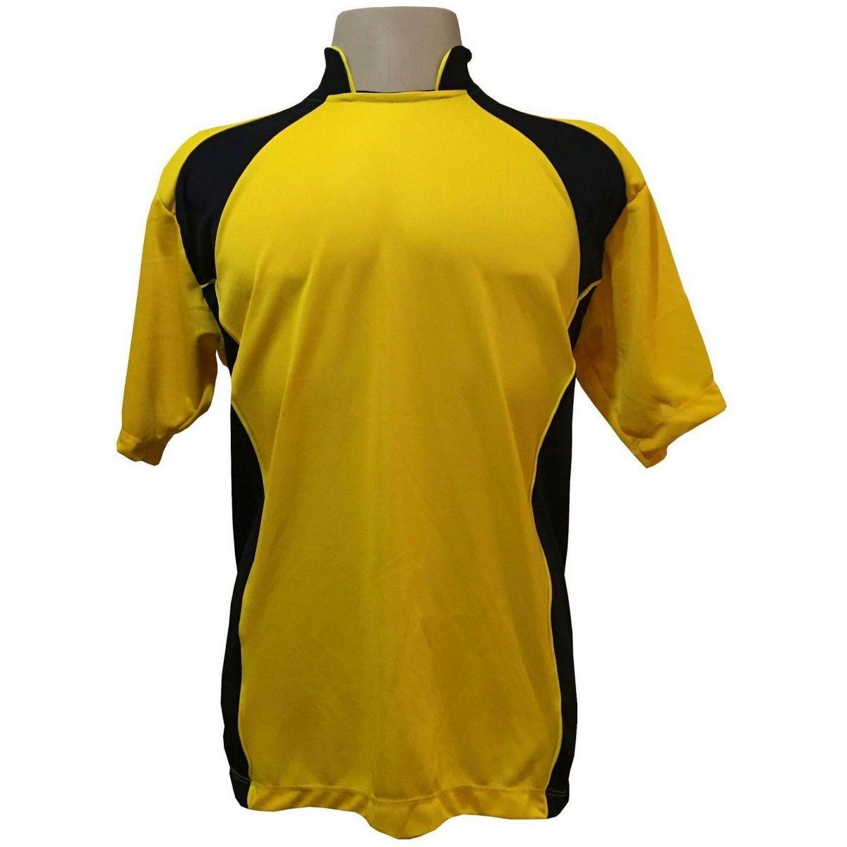 Uniforme Esportivo Completo modelo Suécia 14+1 (14 camisas Amarelo/Preto + 14 calções Madrid Preto + 14 pares de meiões Pretos + 1 conjunto de goleiro) + Brindes