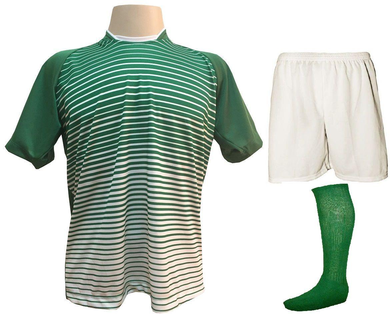 Fardamento Completo modelo City 18+1 (18 Camisas Verde/Branco + 18 Calções Madrid Branco + 18 Pares de Meiões Verde + 1 Conjunto de Goleiro) + Brindes