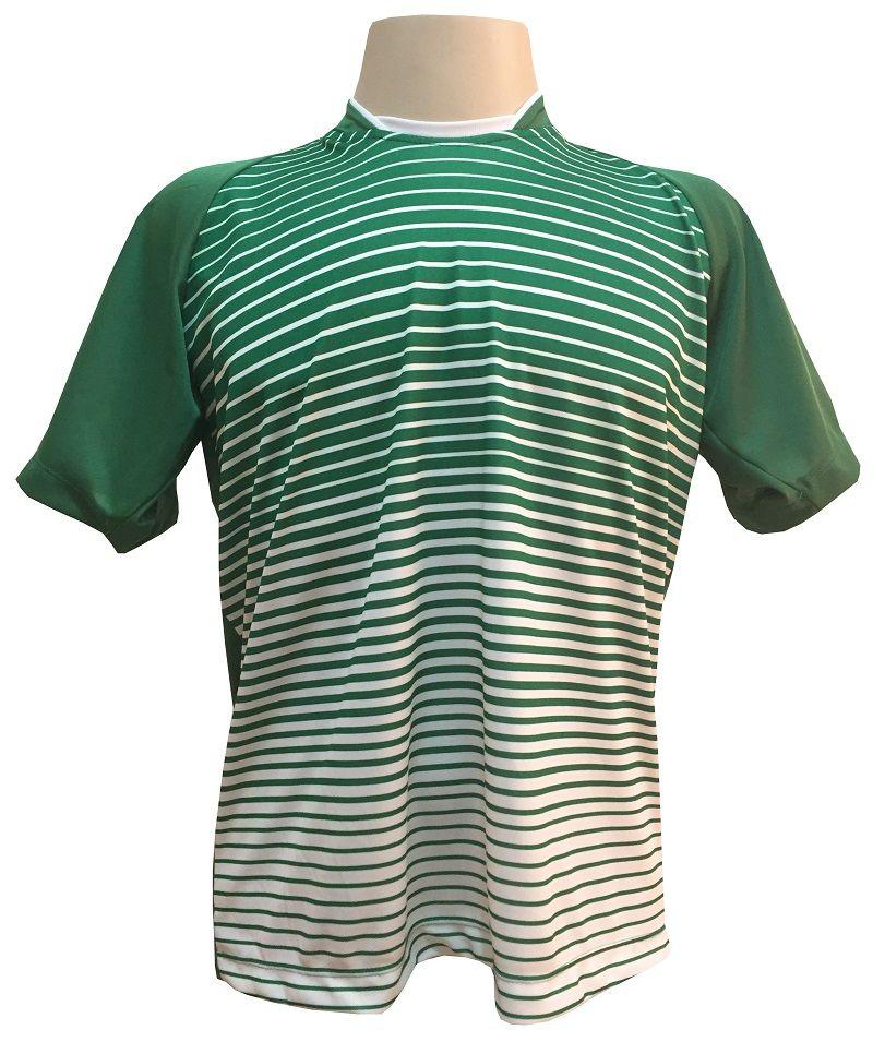 Fardamento Completo modelo City 18+1 (18 Camisas Verde/Branco + 18 Calções Madrid Branco + 18 Pares de Meiões Brancos + 1 Conjunto de Goleiro) + Brindes