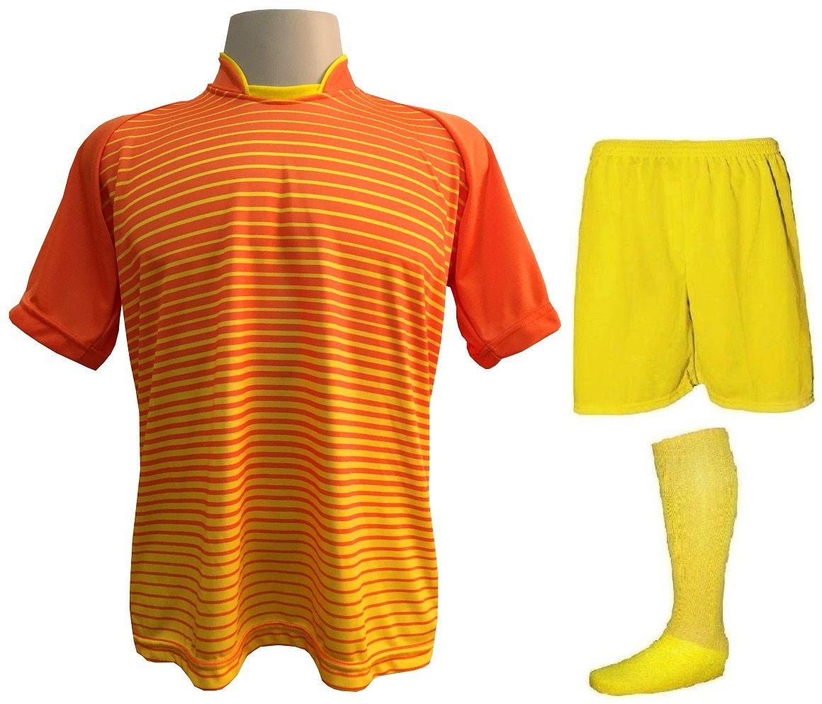 Fardamento Completo modelo City 18+1 (18 Camisas Laranja/Amarelo + 18 Calções Madrid Amarelo + 18 Pares de Meiões Amarelos + 1 Conjunto de Goleiro) + Brindes