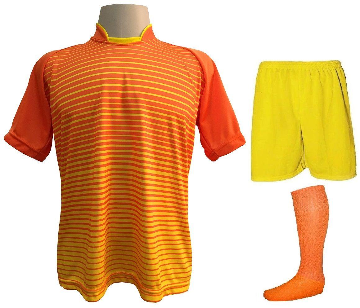 Fardamento Completo modelo City 18+1 (18 Camisas Laranja/Amarelo + 18 Calções Madrid Amarelo + 18 Pares de Meiões Laranjas + 1 Conjunto de Goleiro) + Brindes