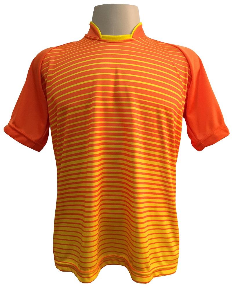Fardamento Completo modelo City 12+1 (12 Camisas Laranja/Amarelo + 12 Calções Madrid Amarelo + 12 Pares de Meiões Laranja + 1 Conjunto de Goleiro) + Brindes