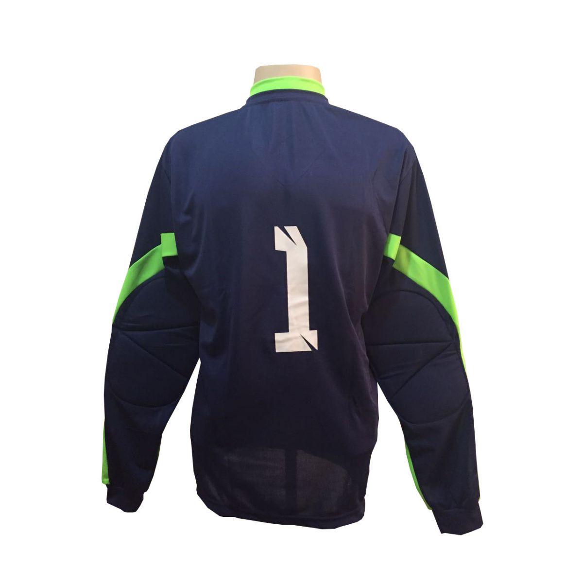 Camisa de Goleiro modelo Turim número 1 Marinho/Limão