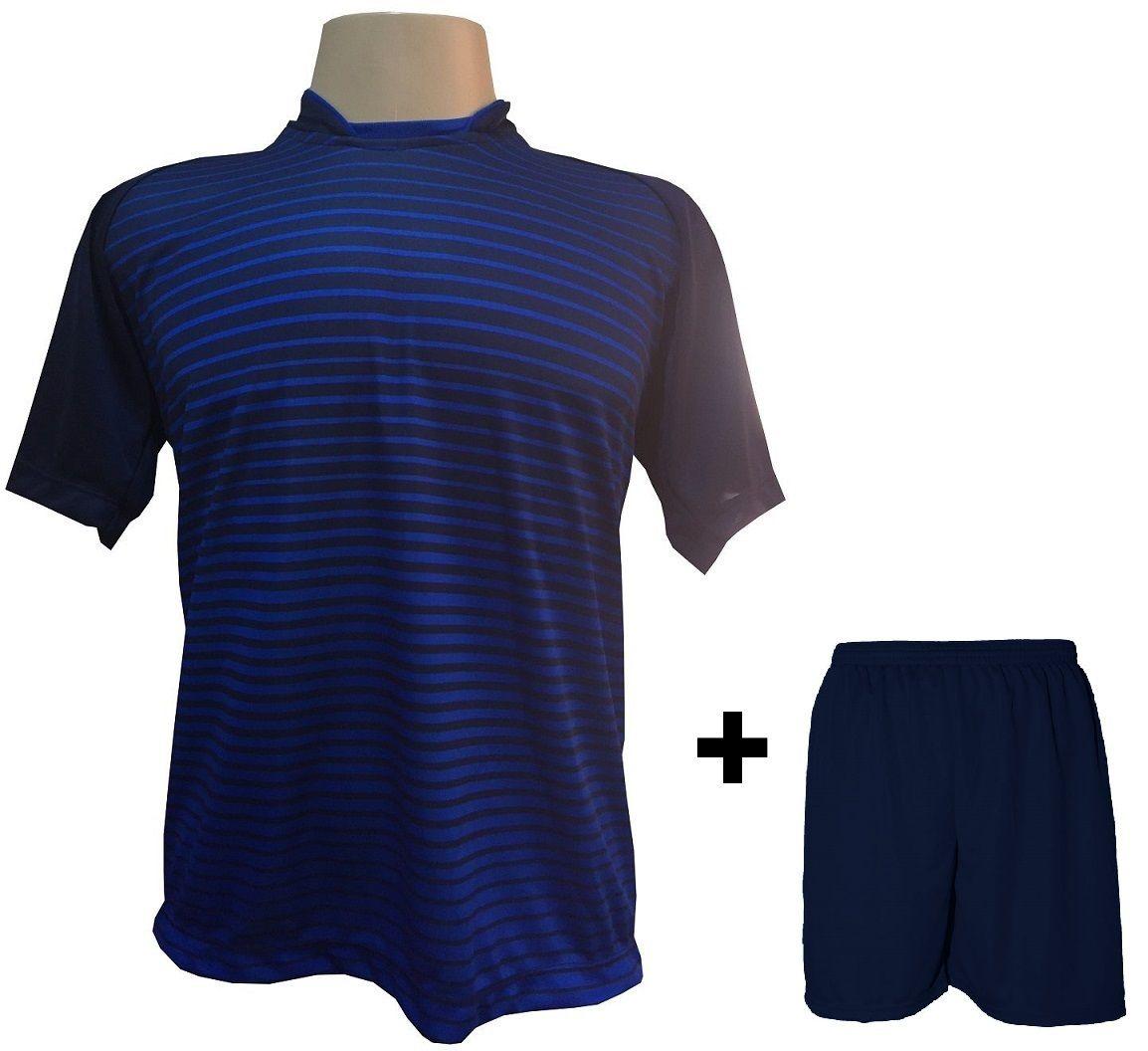 Uniforme Esportivo com 18 camisas modelo City Marinho/Royal + 18 calções modelo Madrid Marinho + Brindes