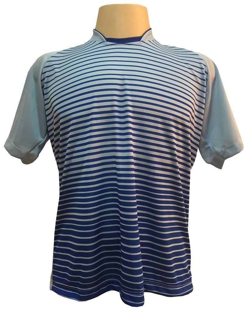 Uniforme Esportivo com 18 camisas modelo City Celeste/Royal + 18 calções modelo Madrid Royal + Brindes