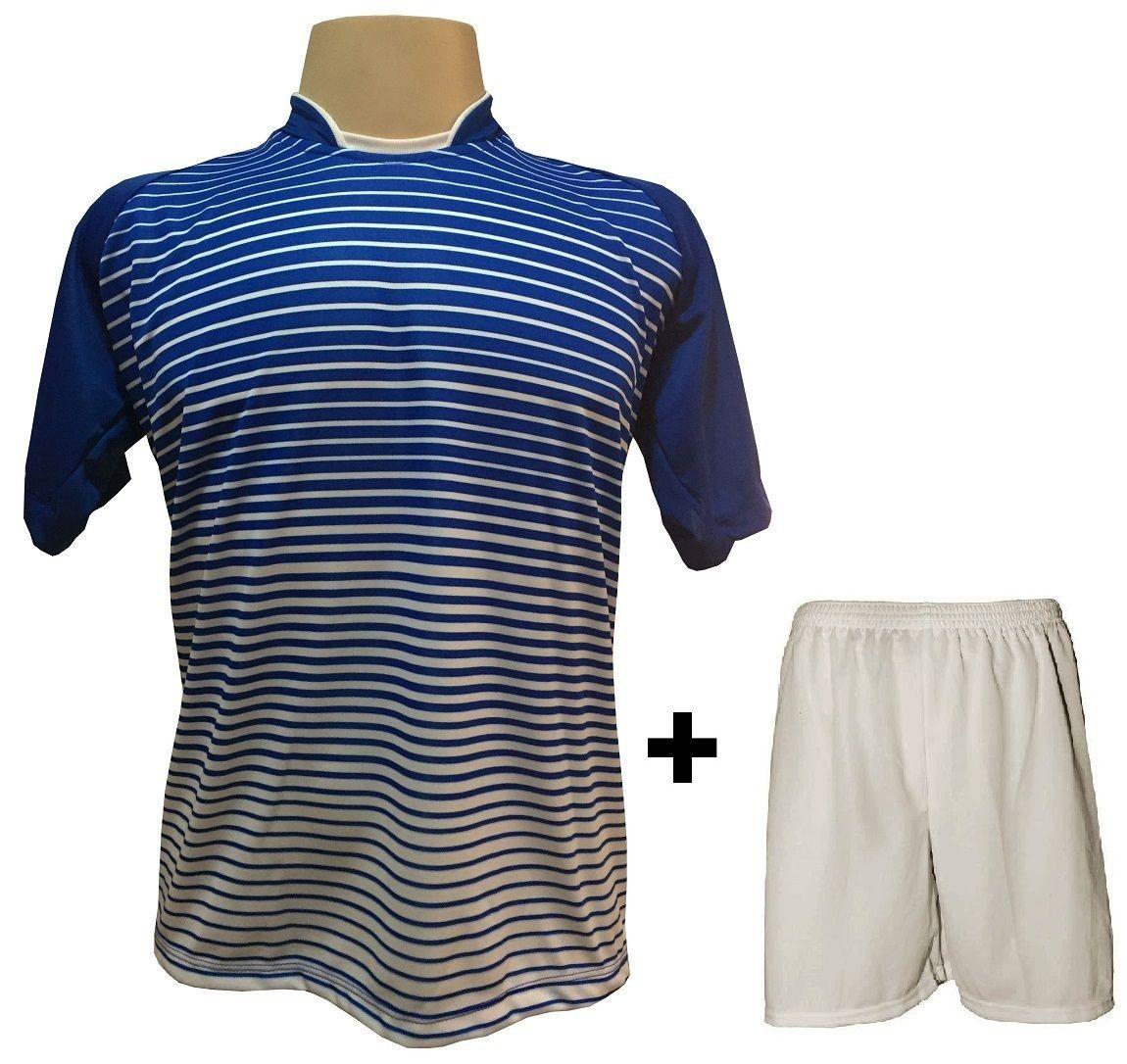 Uniforme Esportivo com 18 camisas modelo City Royal/Branco + 18 calções modelo Madrid Branco + Brindes