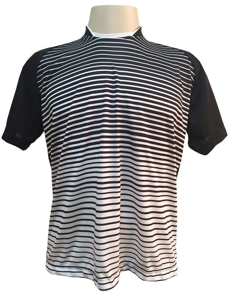Uniforme Esportivo com 12 camisas modelo City Preto/Branco + 12 calções modelo Madrid Branco + Brindes
