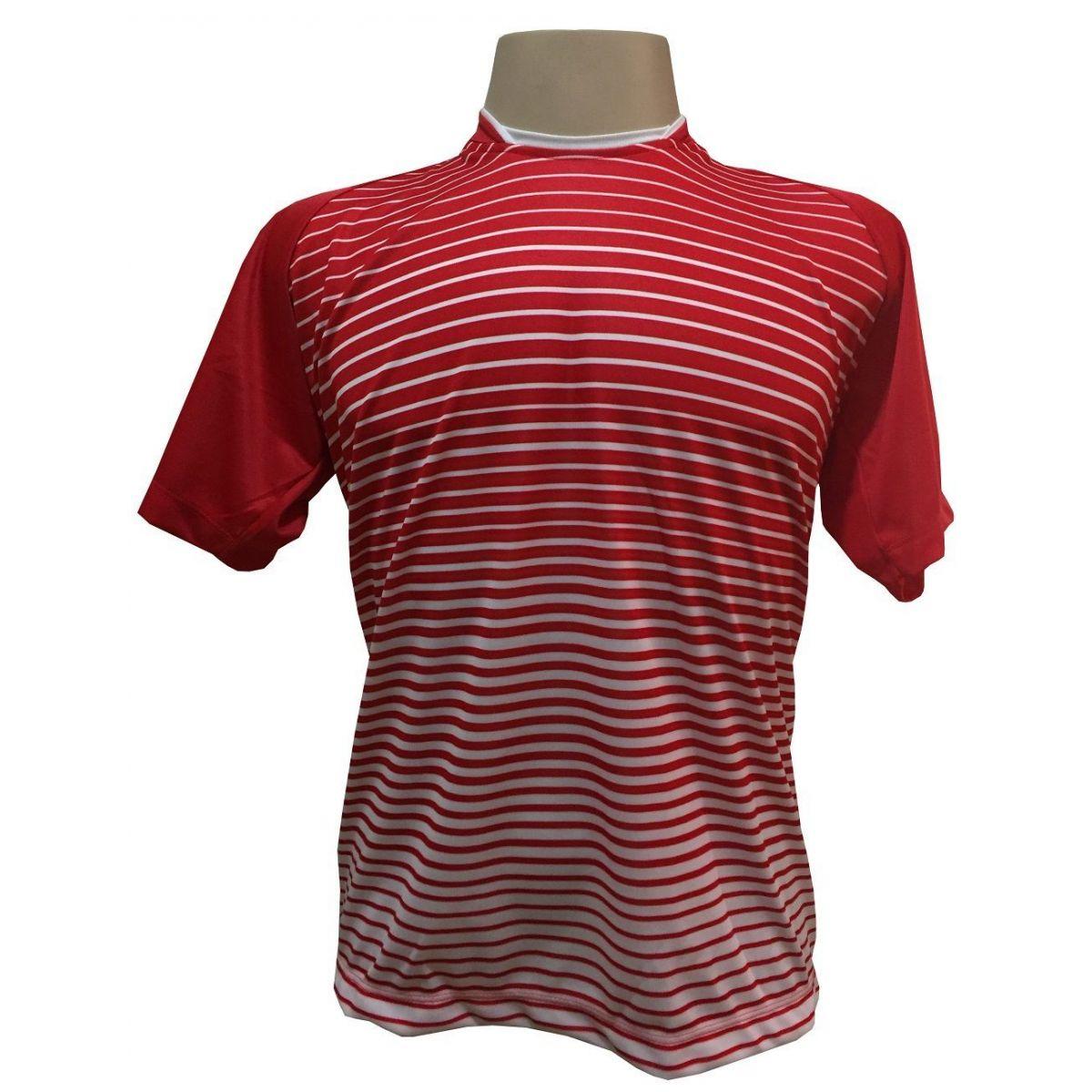 Uniforme Esportivo com 12 camisas modelo City Vermelho/Branco + 12 calções modelo Madrid Branco + Brindes