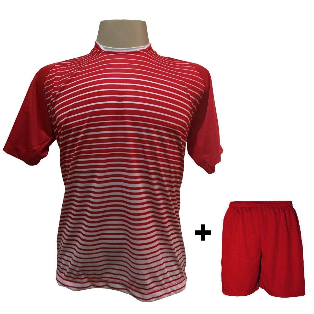 Uniforme Esportivo com 12 camisas modelo City Vermelho/Branco + 12 calções modelo Madrid Vermelho + Brindes