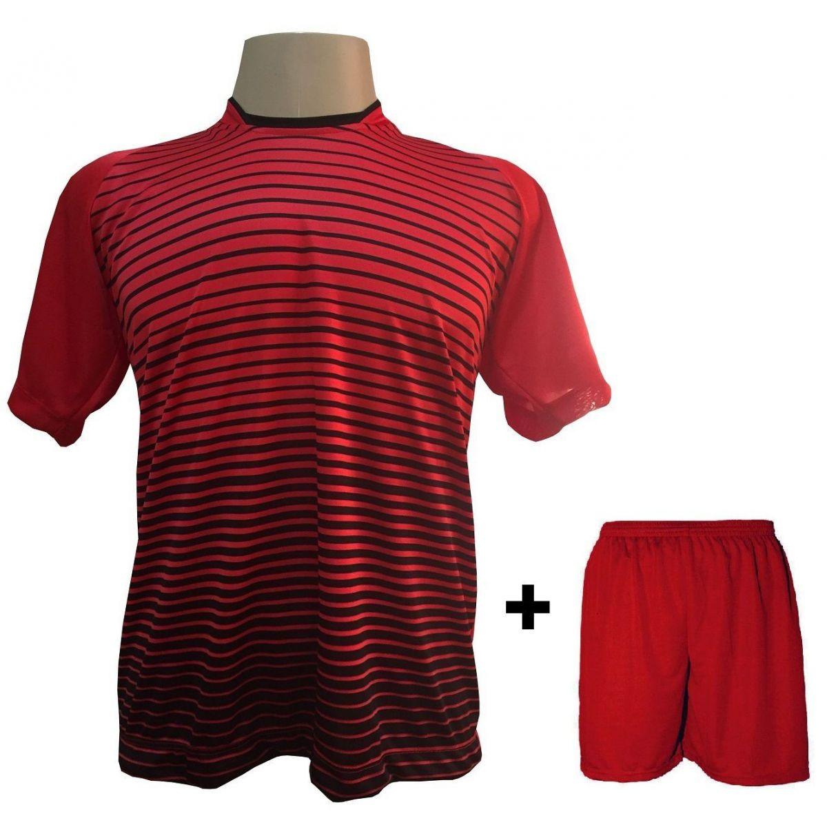 Uniforme Esportivo com 12 camisas modelo City Vermelho/Preto + 12 calções modelo Madrid Vermelho + Brindes