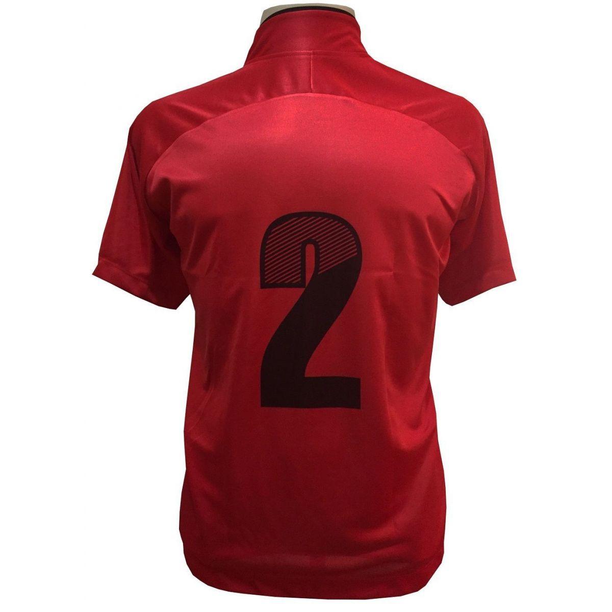 Uniforme Esportivo com 12 camisas modelo City Vermelho/Preto + 12 calções modelo Madrid Preto + Brindes
