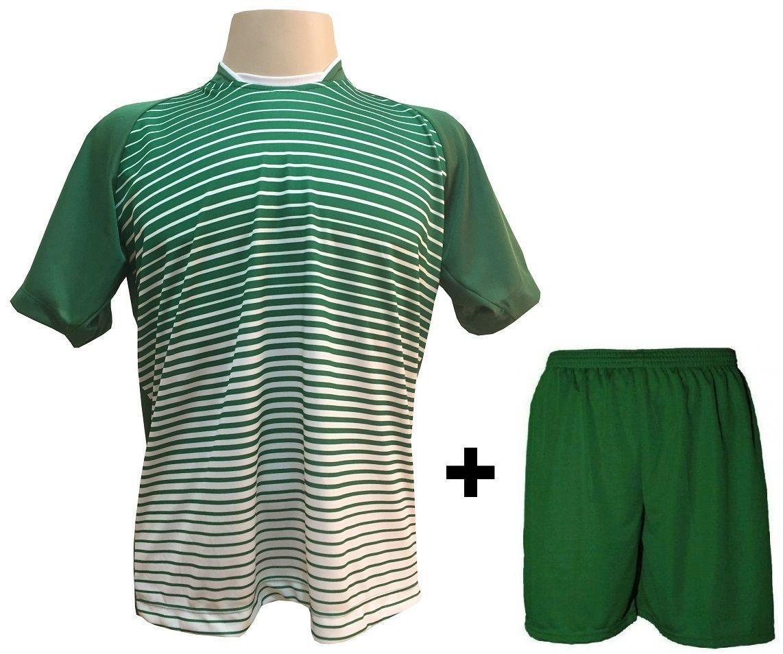 Uniforme Esportivo com 12 camisas modelo City Verde/Branco + 12 calções modelo Madrid Verde + Brindes