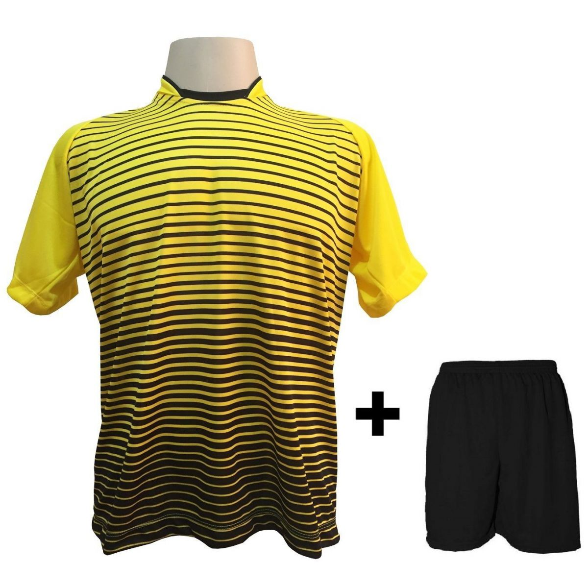 Uniforme Esportivo com 18 camisas modelo City Amarelo/Preto + 18 calções modelo Madrid + 1 Goleiro + Brindes