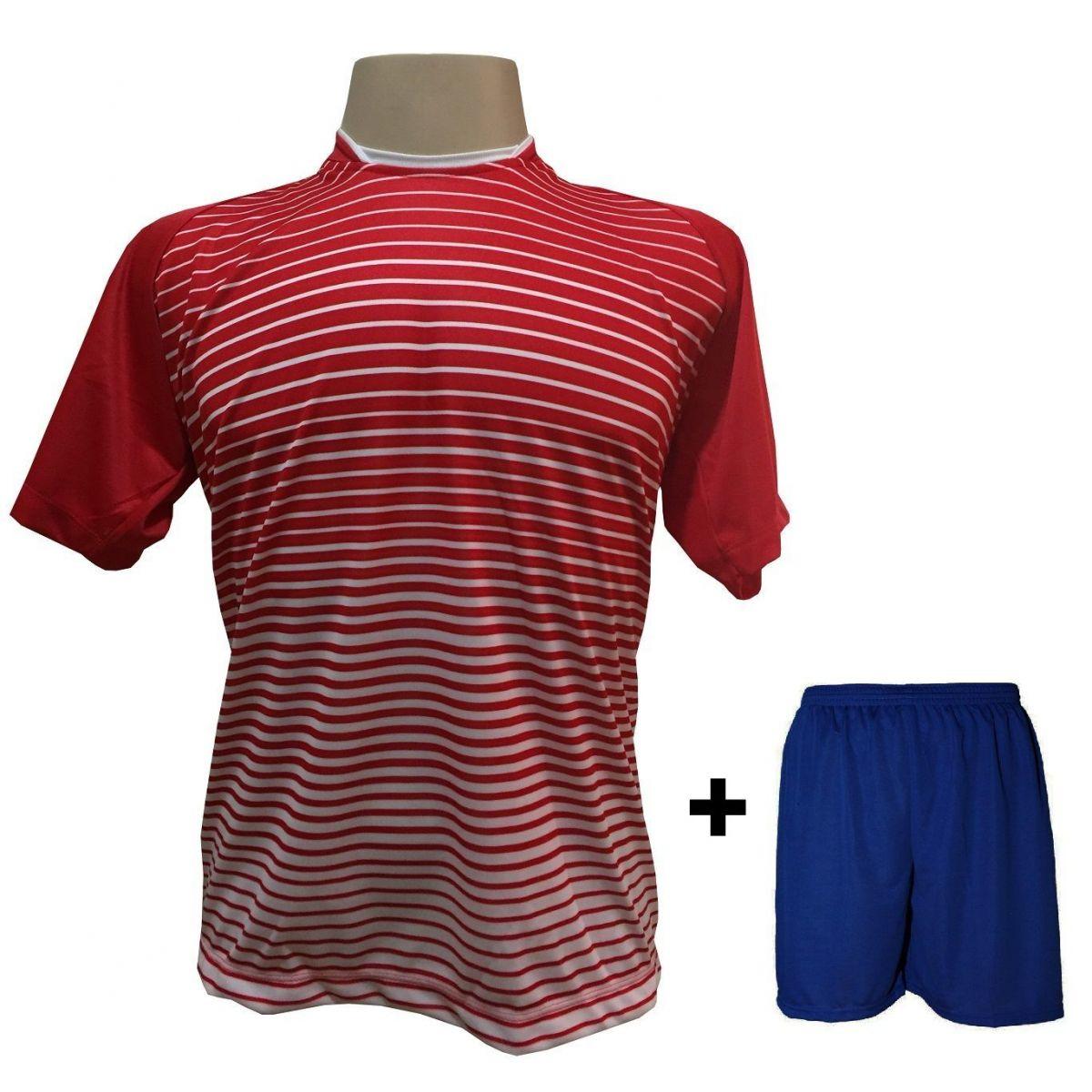 Uniforme Esportivo com 18 camisas modelo City Vermelho/Branco + 18 calções modelo Madrid + 1 Goleiro + Brindes