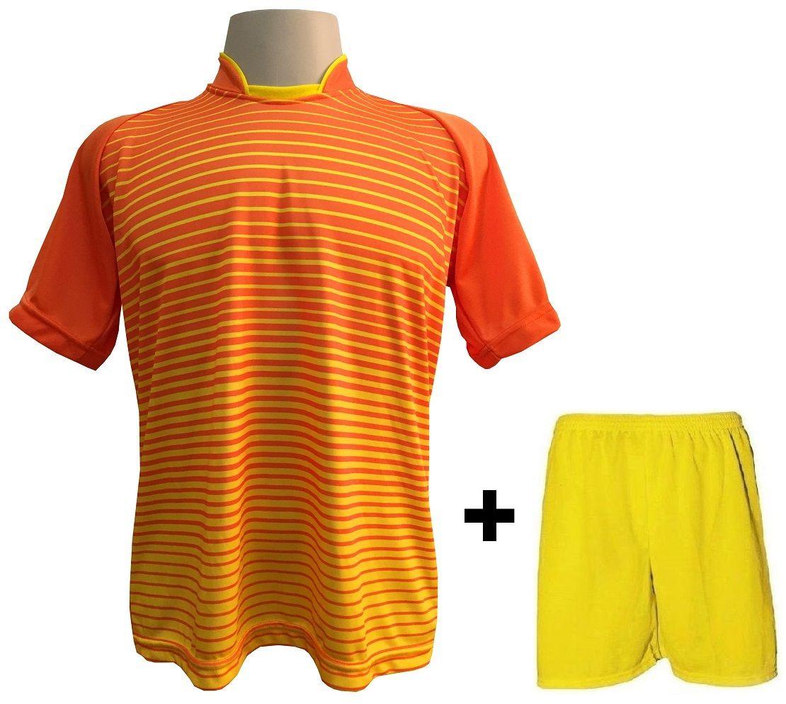 Uniforme Esportivo com 18 camisas modelo City Laranja Amarelo + 18 calções  modelo Madrid + 5bcf35ea79da2