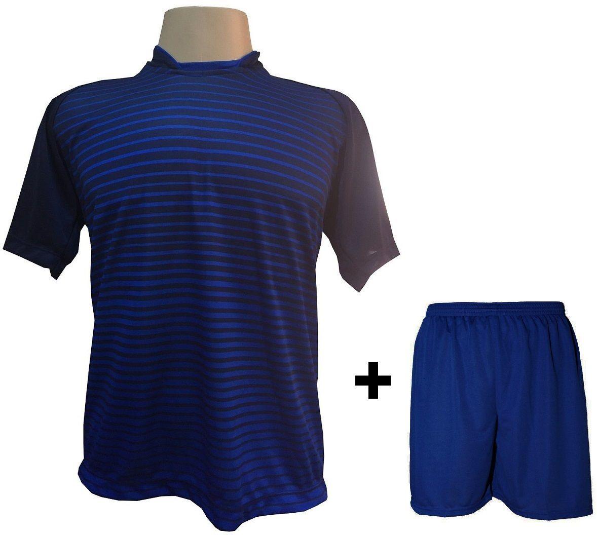 Uniforme Esportivo com 12 camisas modelo City Marinho/Royal + 12 calções modelo Madrid + 1 Goleiro Brindes