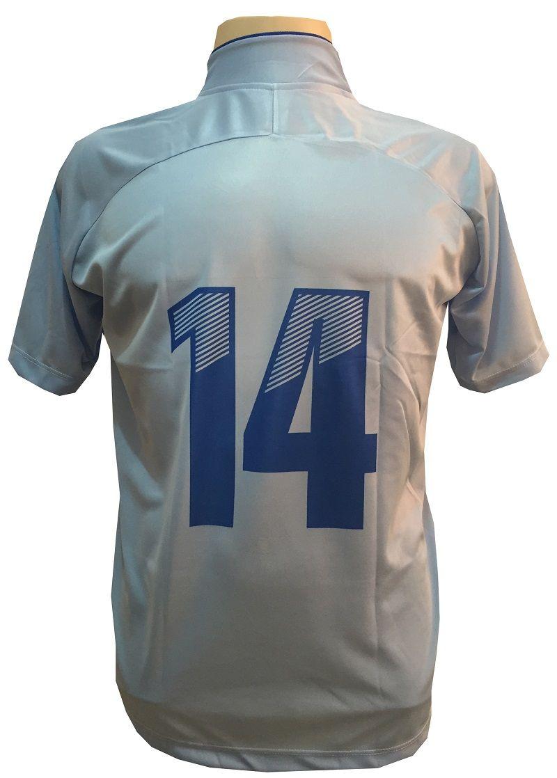 Uniforme Esportivo com 12 camisas modelo City Celeste/Royal + 12 calções modelo Madrid + 1 Goleiro + Brindes