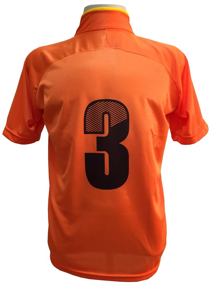 Uniforme Esportivo com 12 camisas modelo City Laranja/Amarelo + 12 calções modelo Madrid + 1 Goleiro + Brindes
