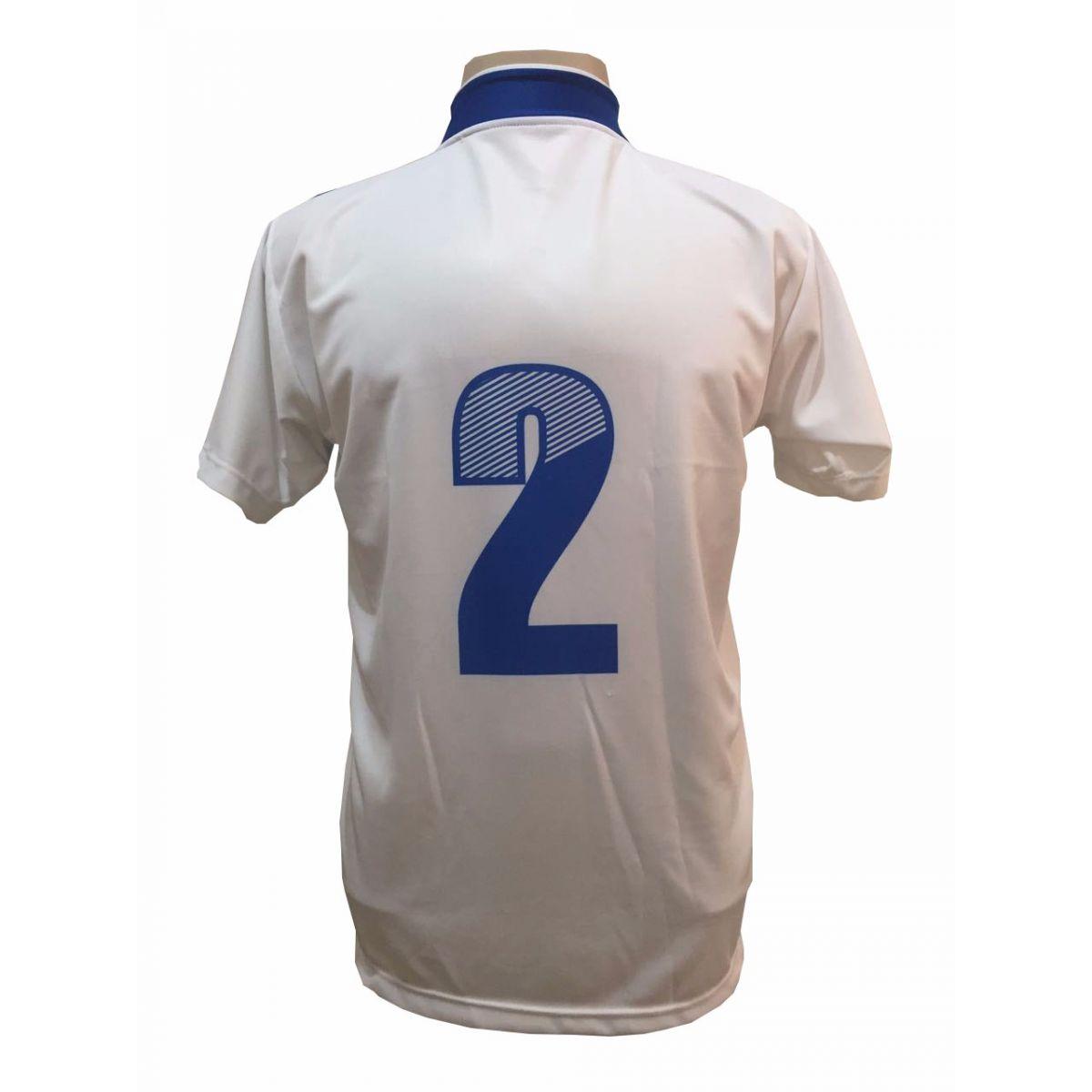 Jogo de Camisa com 14 unidades modelo Palermo Branco/Royal + Brindes