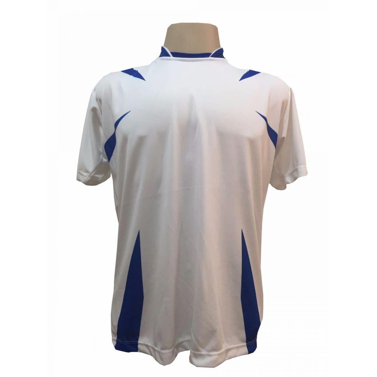 Uniforme Esportivo Completo modelo Palermo 14+1 (14 camisas Branco/Royal + 14 calções Madrid Royal + 14 pares de meiões Royal + 1 conjunto de goleiro) + Brindes