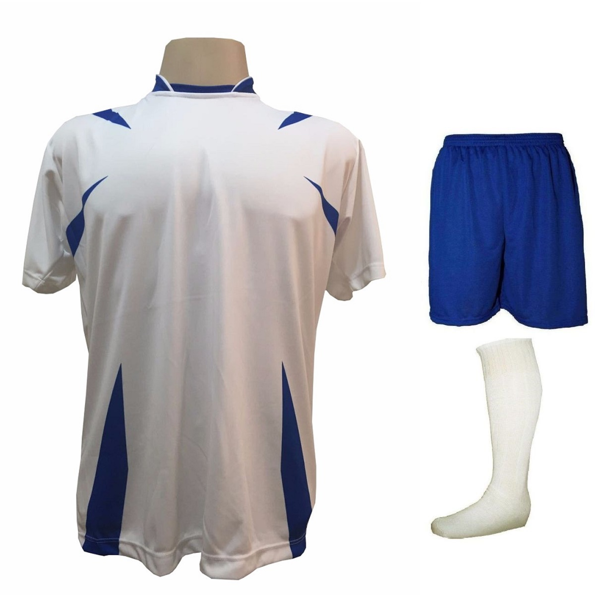 Uniforme Esportivo Completo modelo Palermo 14+1 (14 camisas Branco/Royal + 14 calções Madrid Royal + 14 pares de meiões Branco + 1 conjunto de goleiro) + Brindes