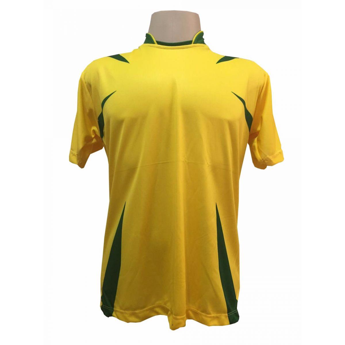 Jogo de Camisa com 14 unidades modelo Palermo Amarelo/Verde + 1 Goleiro + Brindes