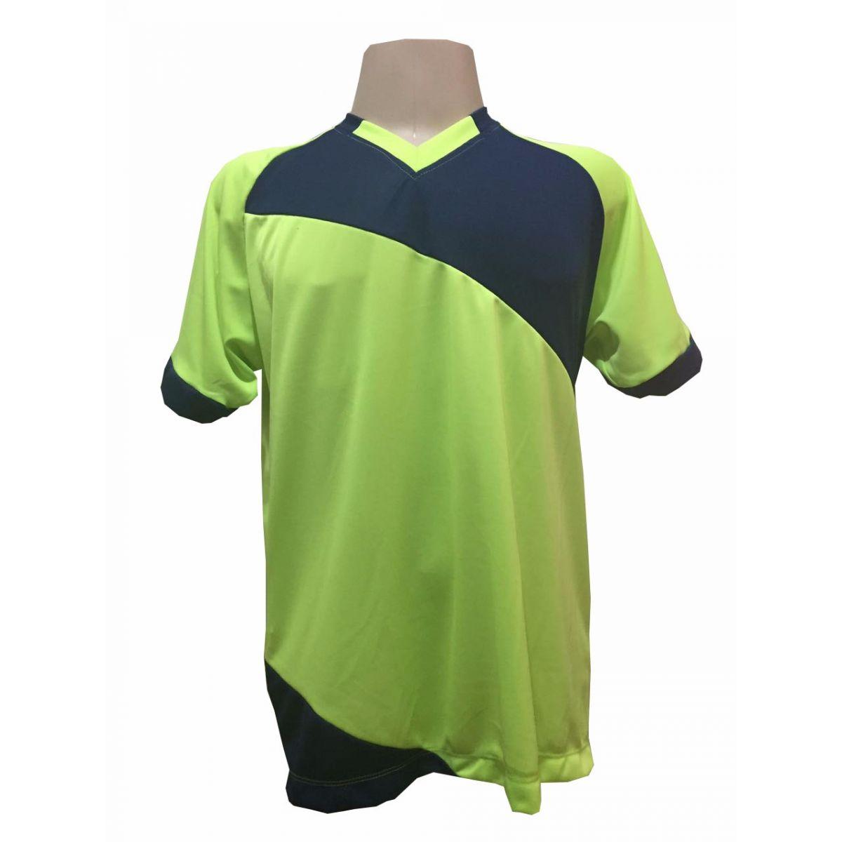 Jogo de Camisa com 20 unidades modelo Bélgica Limão/Marinho + 1 Goleiro + Brindes