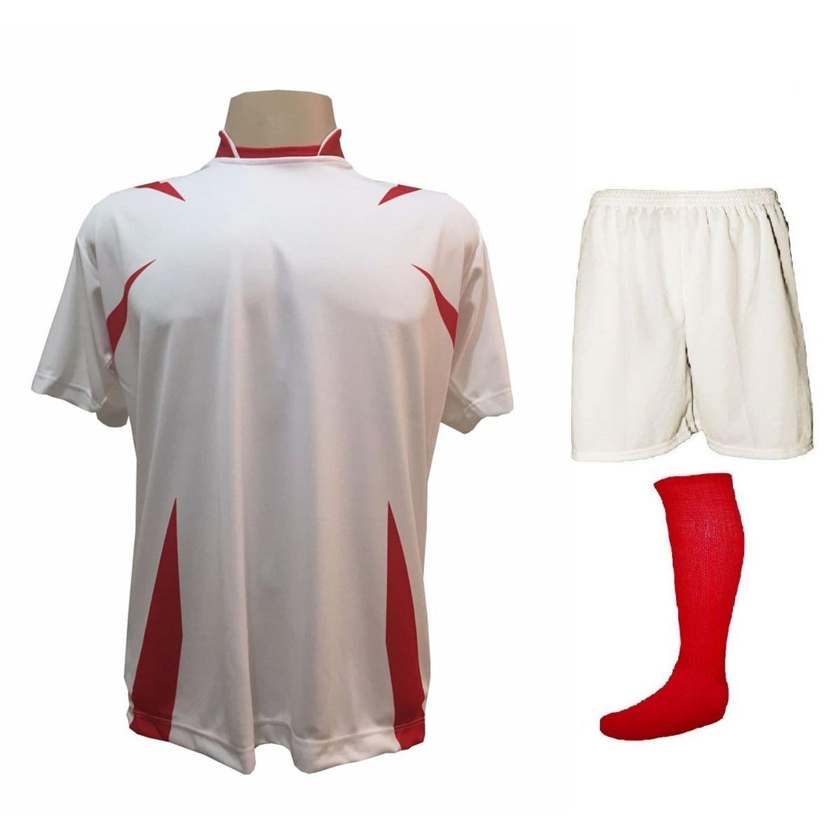 Uniforme Esportivo Completo modelo Palermo 14+1 (14 camisas Branco/Vermelho + 14 calções Madrid Branco + 14 pares de meiões Vermelhos + 1 conjunto de goleiro) + Brindes