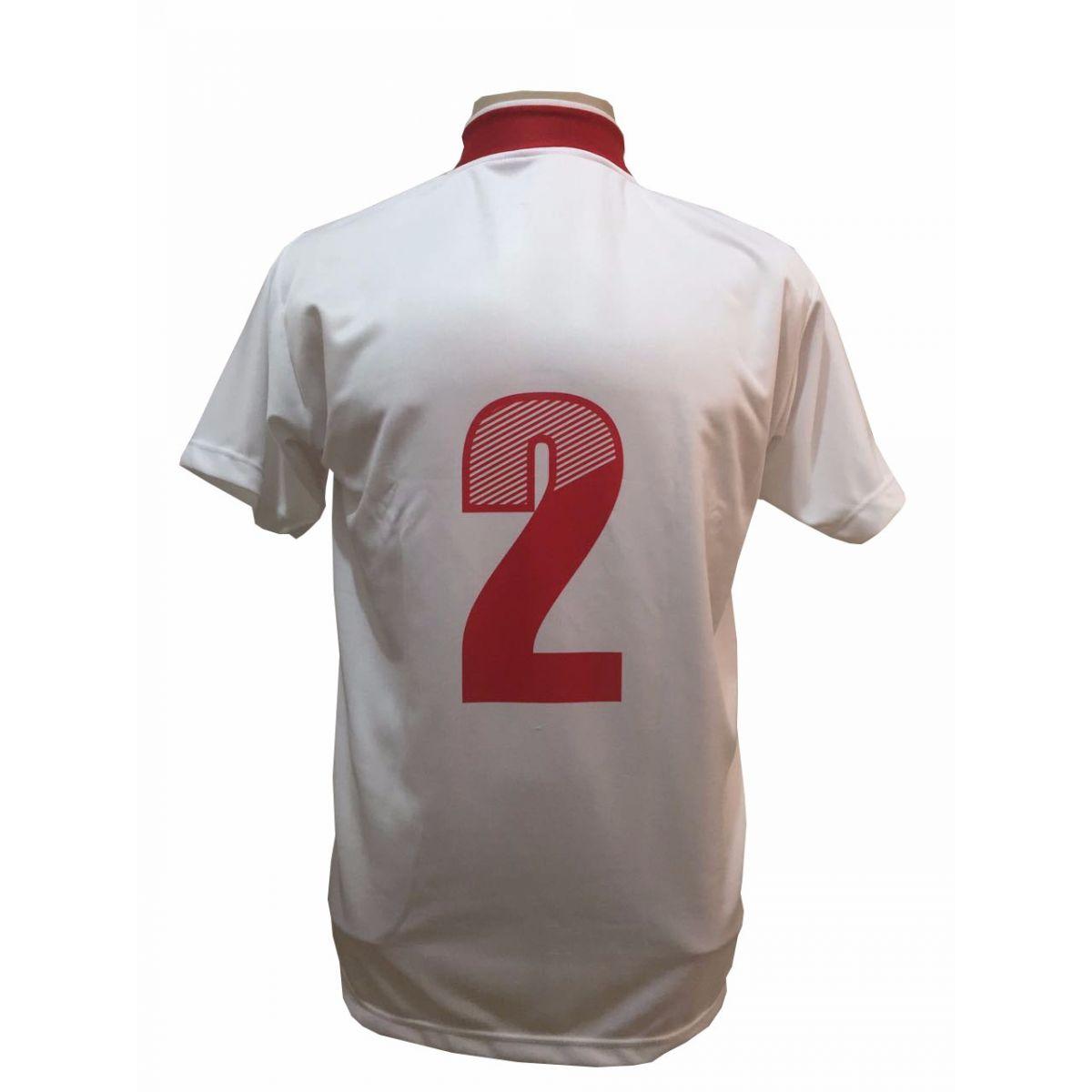 Uniforme Esportivo Completo modelo Palermo 14+1 (14 camisas Branco/Vermelho + 14 calções Madrid Vermelho + 14 pares de meiões Brancos + 1 conjunto de goleiro) + Brindes