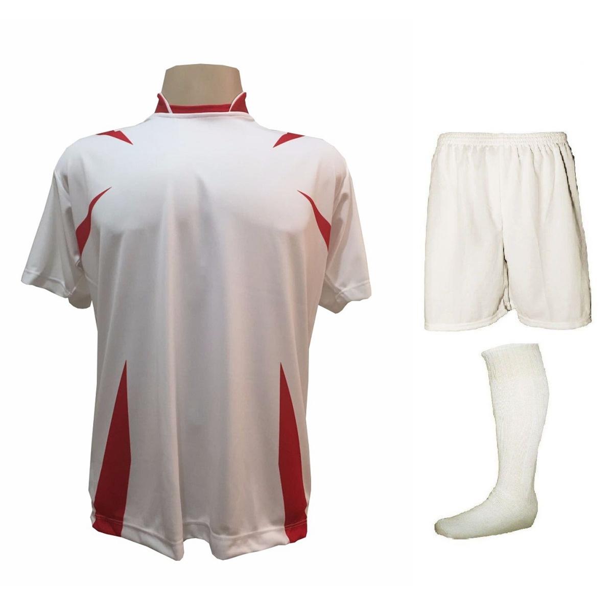Uniforme Esportivo Completo modelo Palermo 14+1 (14 camisas Branco/Vermelho + 14 calções modelo Madrid Branco + 14 pares de meiões Brancos + 1 conjunto de goleiro) + Brindes