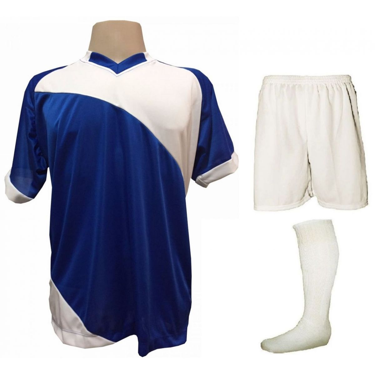 Fardamento Completo modelo Bélgica 20+1 (20 camisas Royal/Branco + 20 calções modelo Madrid Branco + 20 pares de meiões Branco + 1 conjunto de goleiro) + Brindes