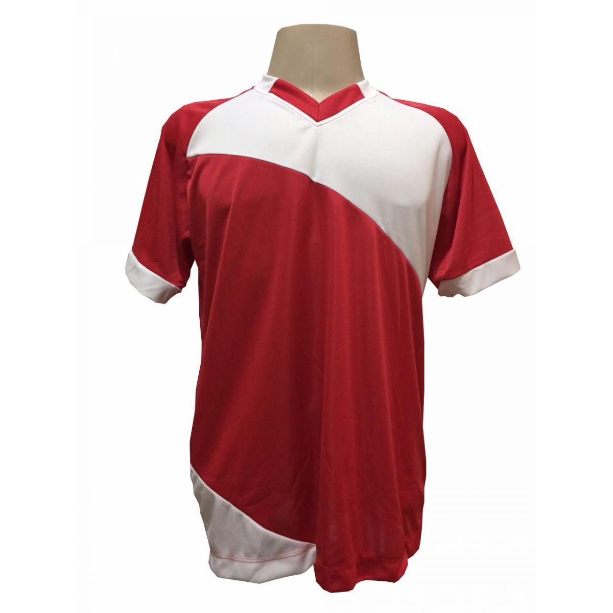 Fardamento Completo modelo Bélgica 20+1 (20 camisas Vermelho/Branco + 20 calções modelo Madrid Branco + 20 pares de meiões Branco + 1 conjunto de goleiro) + Brindes