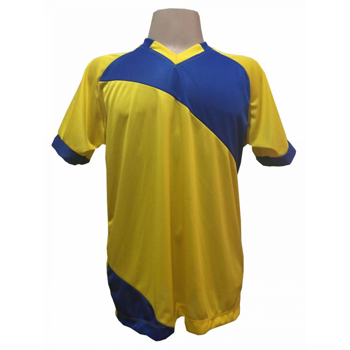 Fardamento Completo modelo Bélgica 20+1 (20 camisas Amarelo/Royal + 20 calções modelo Madrid Royal + 20 pares de meiões Royal + 1 conjunto de goleiro) + Brindes