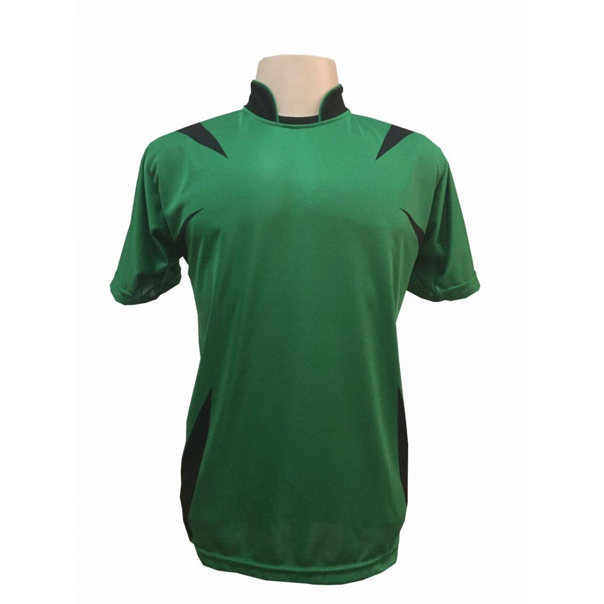 Uniforme Esportivo com 14 camisas modelo Palermo Verde/Preto + 14 calções modelo Madrid + 1 Goleiro + Brindes