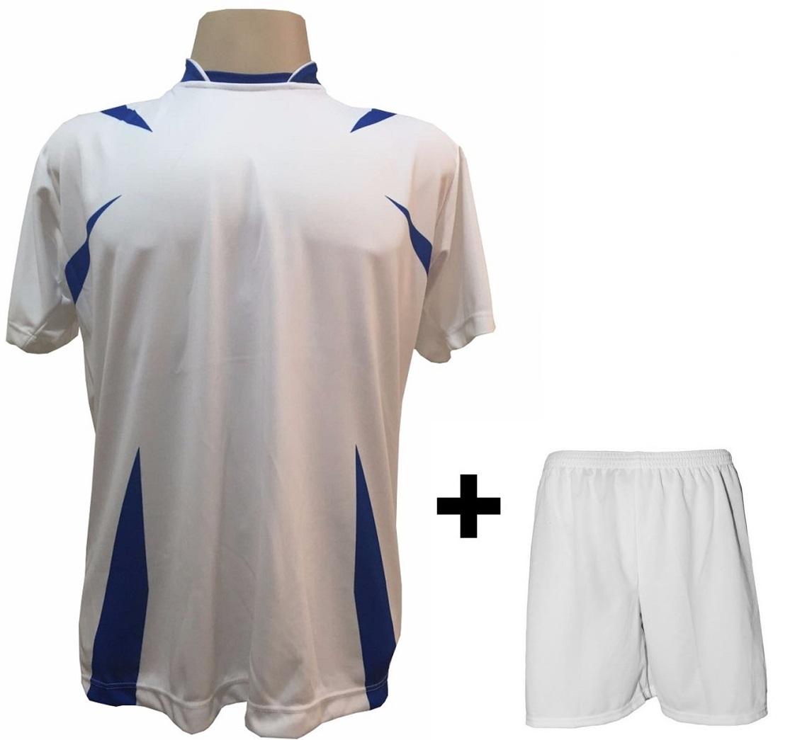 Uniforme Esportivo com 14 camisas modelo Palermo Branco/Royal + 14 calções modelo Madrid Branco + Brindes