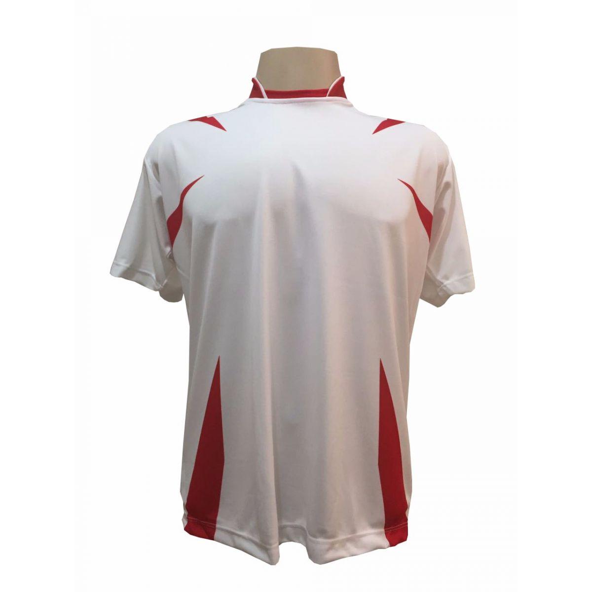 Uniforme Esportivo com 14 camisas modelo Palermo Branco/Vermelho + 14 calções modelo Madrid Branco + Brindes