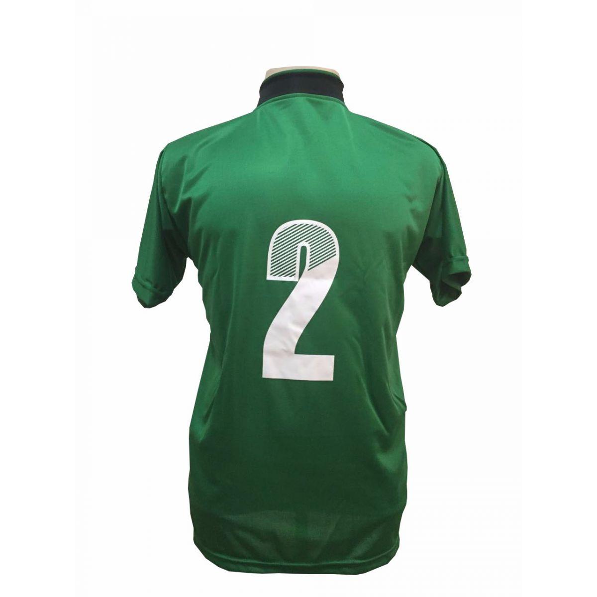Uniforme Esportivo com 14 camisas modelo Palermo Verde/Preto + 14 calções modelo Madrid Verde + Brindes